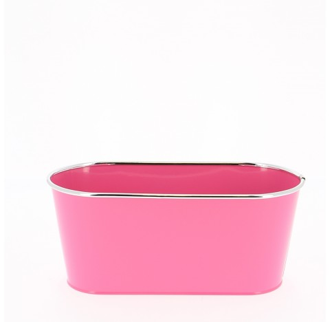 Caches-pot en zinc brillant avec chrome  Ø 28,5 x 12,5 x H24,5 Fuchsia