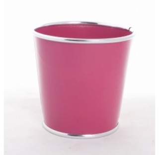 Caches-pot en zinc brillant avec chrome Ø10,8 x base 7,5 x H10,8 Fuchsia