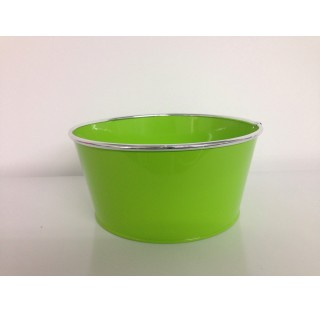 Bassine en zinc brillant avec chrome Ø23,8 x 18,8 x H11,3 Vert