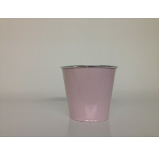 Caches-pot PASTEL en zinc brillant avec chrome Ø18,3 x base 14 x H16 Rose