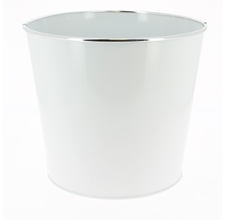 Caches-pot en zinc brillant avec chromeØ16 x base11,5 x H14  Blanc