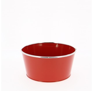 Bassine en zinc brillant avec chrome Ø23,8 x 18,8 x H11,3  Rouge